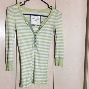 Green and white striped Abercrombie & Fitch henley